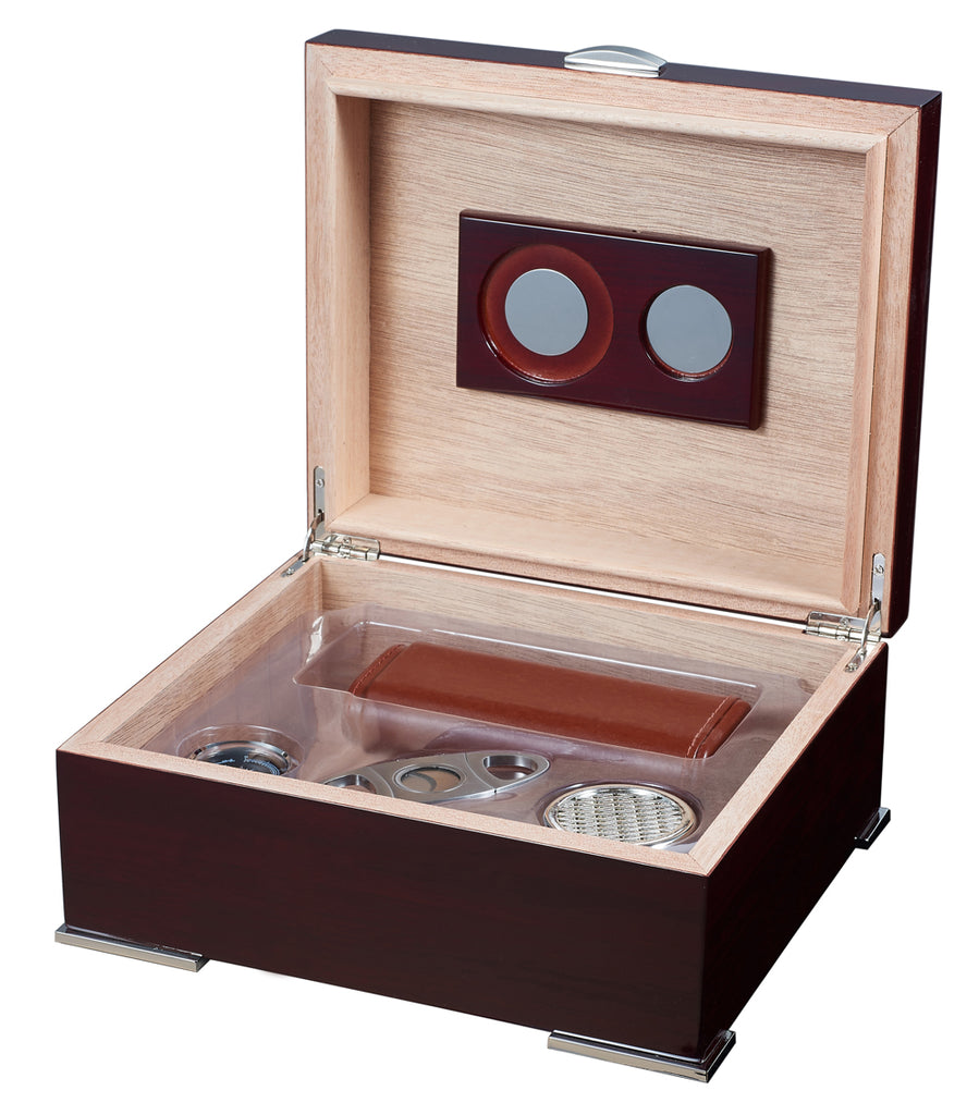 Visol Xander Burgundy Wood Humidor Gift Set with Case and Cutter - Wine Cooler City