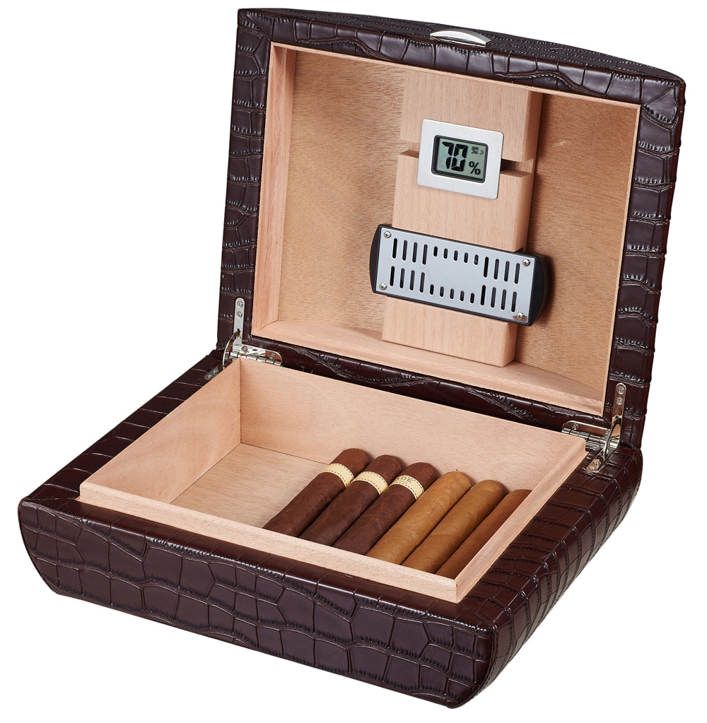 Visol Blake Crocodile Pattern Brown Leather Humidor