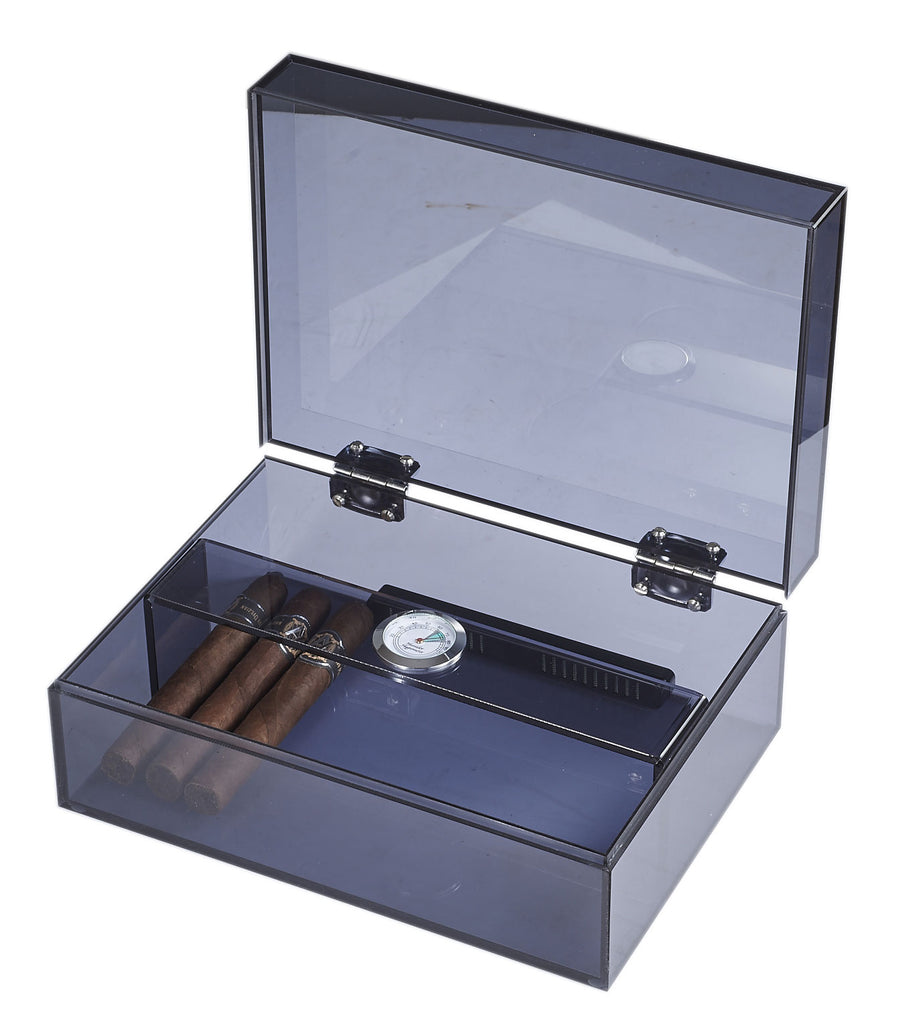 Visol Leo Transparent Navy Blue Humidor - Holds 50 Cigars - Wine Cooler City