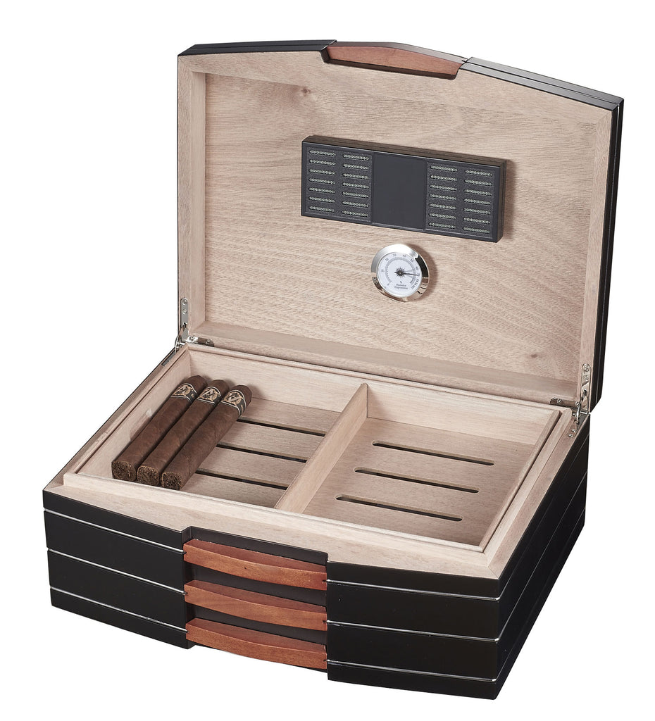 Visol Gerard Black Polished Wood Humidor - Holds 100 Cigars - Wine Cooler City