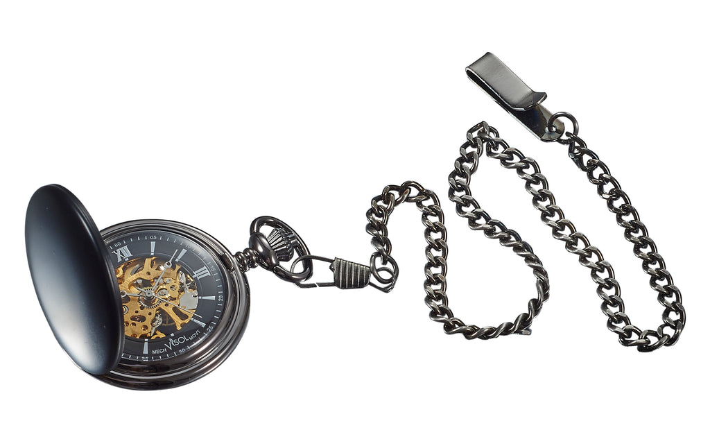 Visol Quincy Black Matte Mechanical Pocket Watch - Wine Cooler City