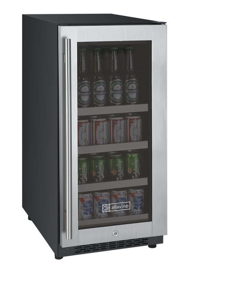 "Allavino Flexcount VSBC15-SSRN Beverage Center 15"" Wide Black Cabinet and Stainless Steel Door - Hinge on Right - Wine Cooler City"