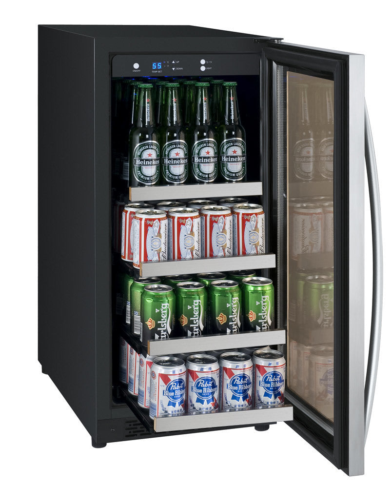 "Allavino Beverage Center 15"" Wide Black Cabinet and Stainless Steel Door - Left - Wine Cooler City"