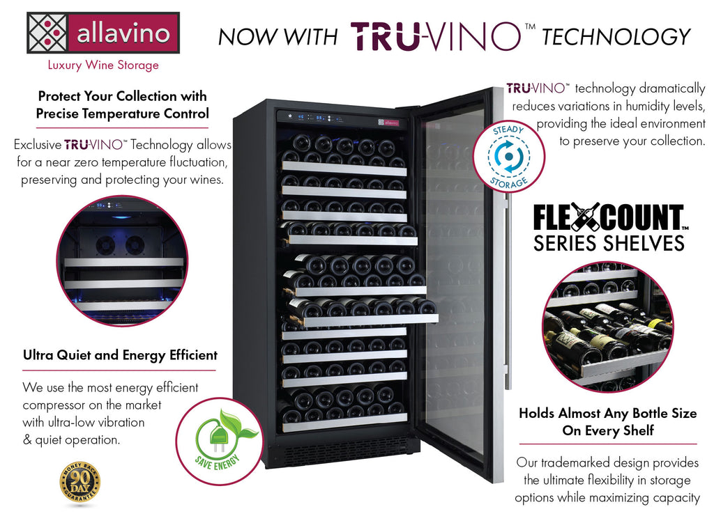 "Allavino 24"" Wide FlexCount II Tru-Vino 128 Bottle Single Zone Stainless Steel Right Hinge Wine Refrigerator - VSWR128-"