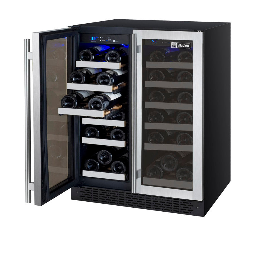 "Allavino 24"" Wide FlexCount II Tru-Vino 36 Bottle Dual Zone Stainless Steel Wine Refrigerator - VSWR36-2SF20"