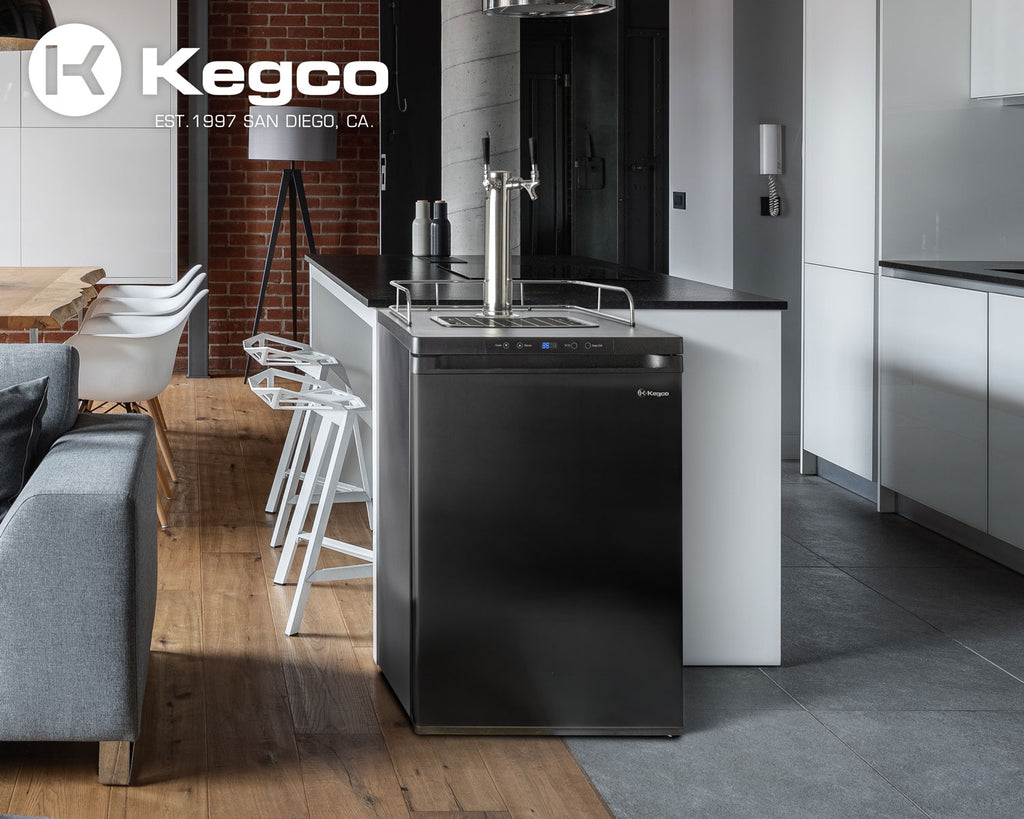 "Kegco 24"" Wide Cold Brew Coffee Dual Tap Black Digital Kegerator - ICK30B-2NK - Wine Cooler City"