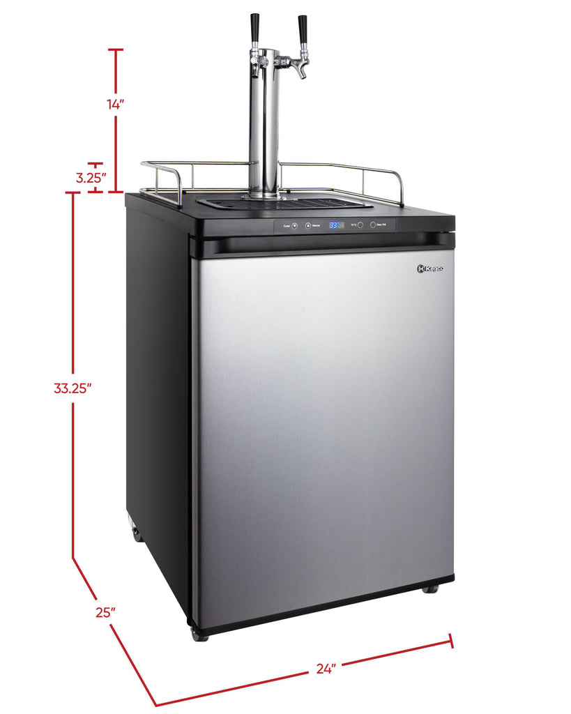 "Kegco 24"" Wide Dual Tap Stainless Steel Digital Kegerator - K309SS-2NK - Wine Cooler City"