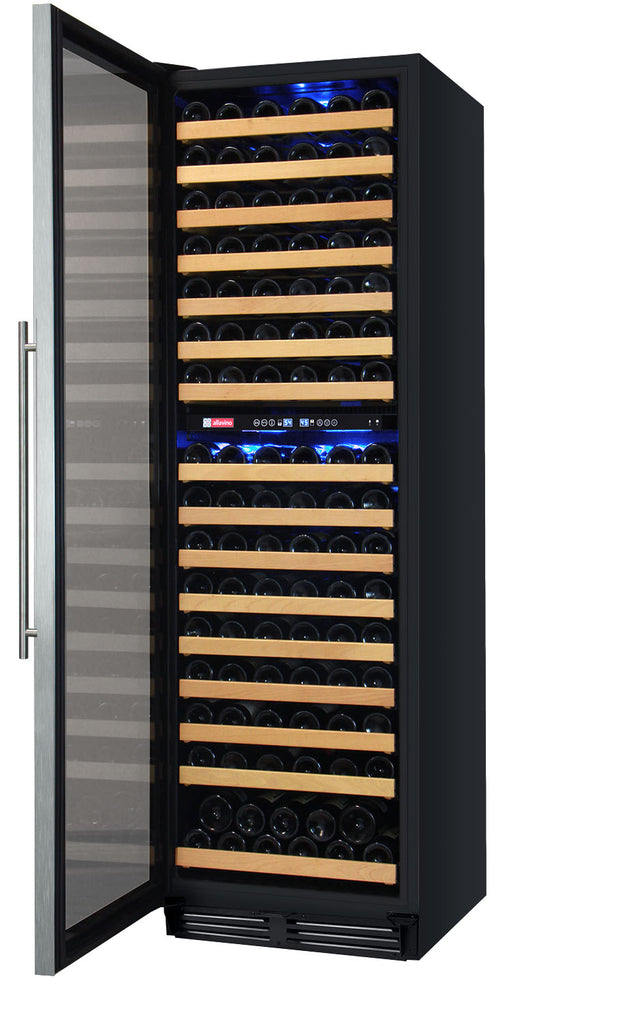"Allavino 24"" Wide FlexCount II Tru-Vino 172 Bottle Dual Zone Stainless Steel Left Hinge Wine Refrigerator - YHWR172-2SL20"