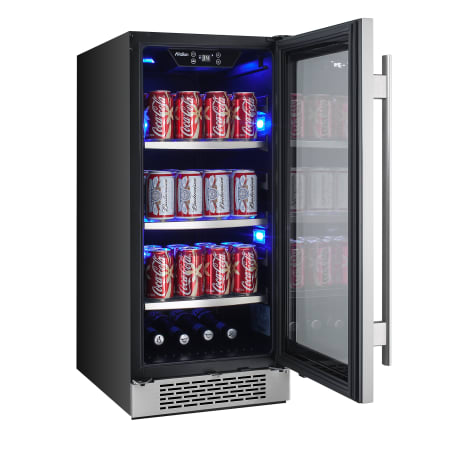 Avallon 15 Inch Wide 86 Can Energy Efficient Beverage Center with LED Lighting, Double Pane Glass, Touch Control Panel and Right Swing Door - ABR151BLSS