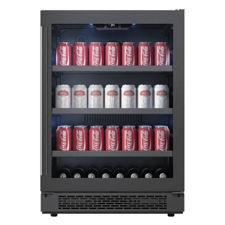 Avallon 24 Inch Wide 140 Can Energy Efficient Beverage Center with LED Lighting, Double Pane Glass, Touch Control Panel and Right Swing Door - ABR241BLSS