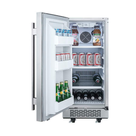 Avallon 15 Inch Wide 3.3 Cu.Ft. Energy Efficient Outdoor Approved Beverage Center with LED Lighting - AFR151SSODLH - Wine Cooler City