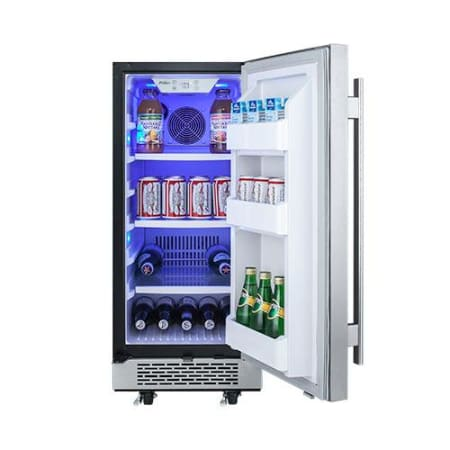 Avallon 15 Inch Wide 3.3 Cu.Ft. Energy Efficient Outdoor Approved Beverage Center with LED Lighting - AFR151SSODRH - Wine Cooler City