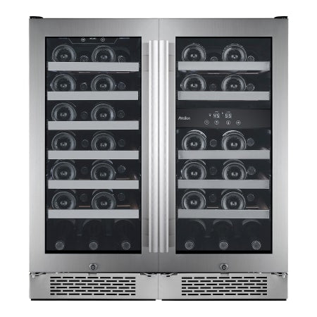 Avallon Built-In 30 Inch Wide 50 Bottle Capacity Wine Cooler with Door Locks and 3 Cooling Zones - AWC151SZDZDUAL