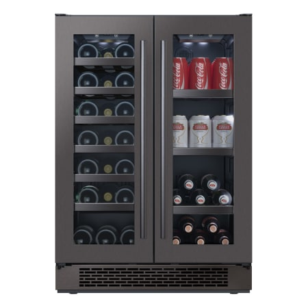 Avallon 24 Inch Wide 21 Bottle Capacity 64 Can Capacity Beverage Center with LED Lighting and Double Pane Glass - AWBC241GGFDBLSS