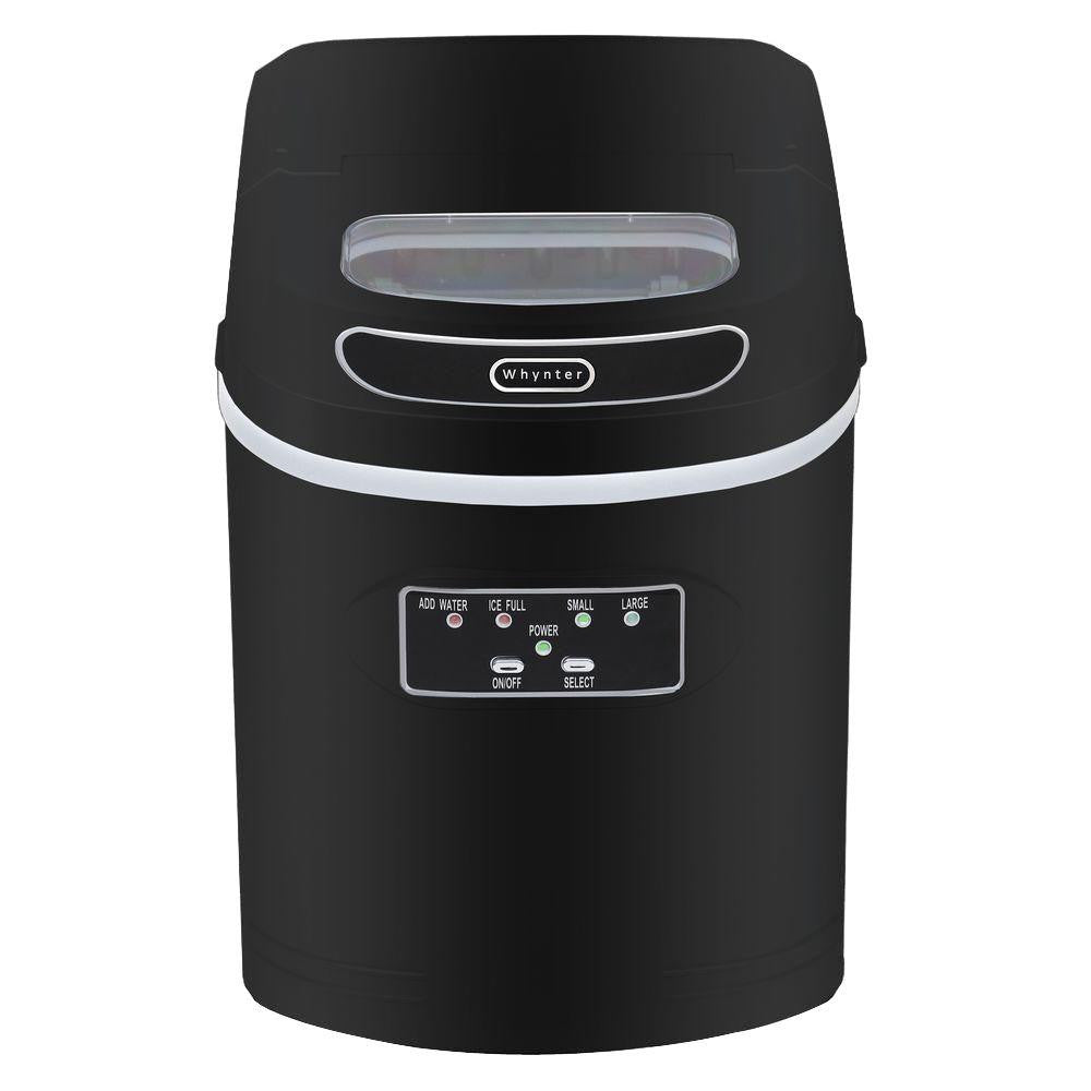 Whynter Compact Portable Ice Maker 27 lb capacity – Metallic Black IMC-270MB