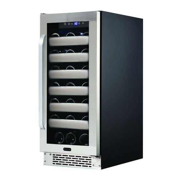 Whynter Elite 33-Bottle Seamless Stainless Steel Door Single Zone Built-in Wine Refrigerator - Wine Cooler City