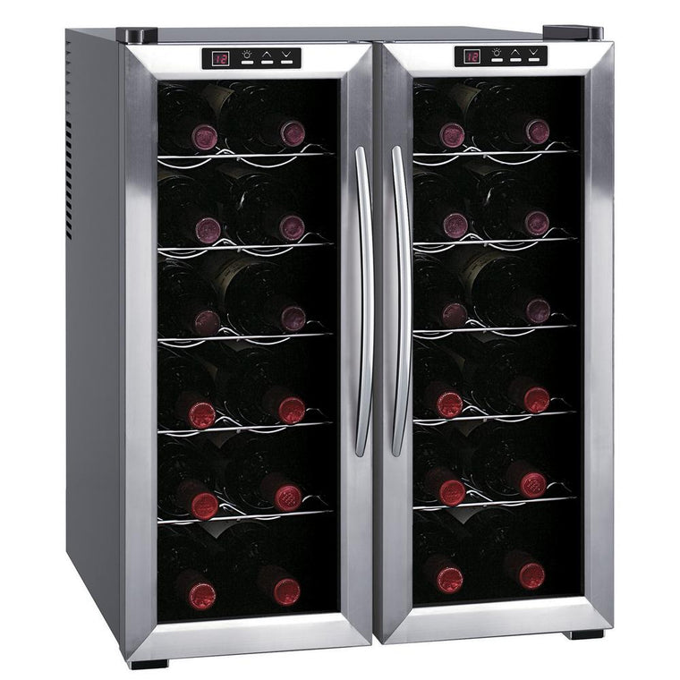 24 Bottles SPT WC-2463W Dual-Zone Thermo-Electric Wine Cooler with Wooden Shelves