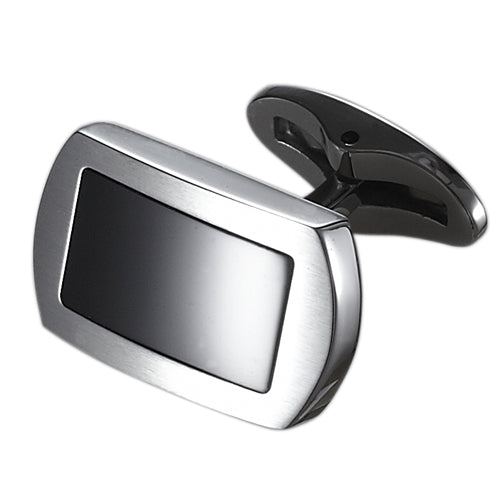 Caseti Charlie Tango Stainless Steel and Black Onyx Cuff Links - Wine Cooler City