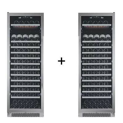 Avallon 151 Bottle + 151 Bottle Side-by-Side Wine Cooler - AWC241TSZRH - Wine Cooler City