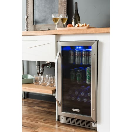 EdgeStar 15 Inch Wide 80 Can Built-In Beverage Cooler with Blue LED Lighting - CBR902SG - Wine Cooler City
