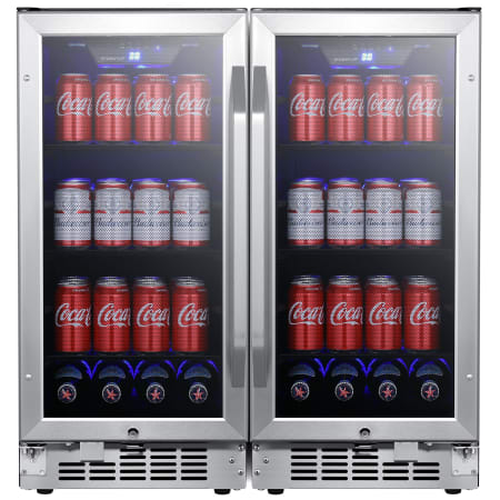EdgeStar 30 Inch Wide 160 Can Built-In Side by Side Beverage Cooler with Blue LED Lighting - CBR902SGDUAL - Wine Cooler City