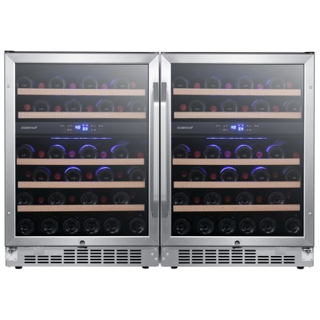 EdgeStar 47 Inch Wide 92 Bottle Built-In Side-by-Side Wine Cooler with 4 Cooling Zones and LED Lighting Model: CWR462DZDUAL