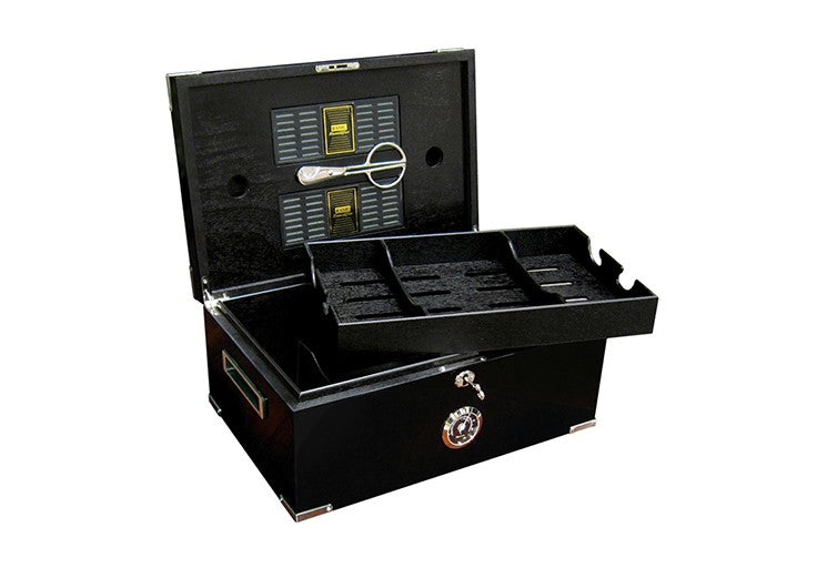 Prestige Import Group Dakota Cigar Humidor with Full Black Interior - Holds Up to 120 Capacity - Color: Jet Black Lacquer with Stainless Steel Metal Corner Accents