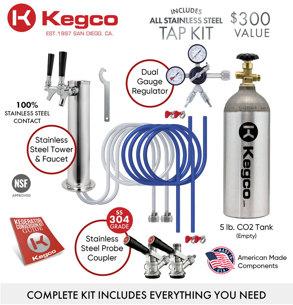 "Kegco 24"" Wide Dual Tap Stainless Steel Kegerator - K209SS-2NK - Wine Cooler City"