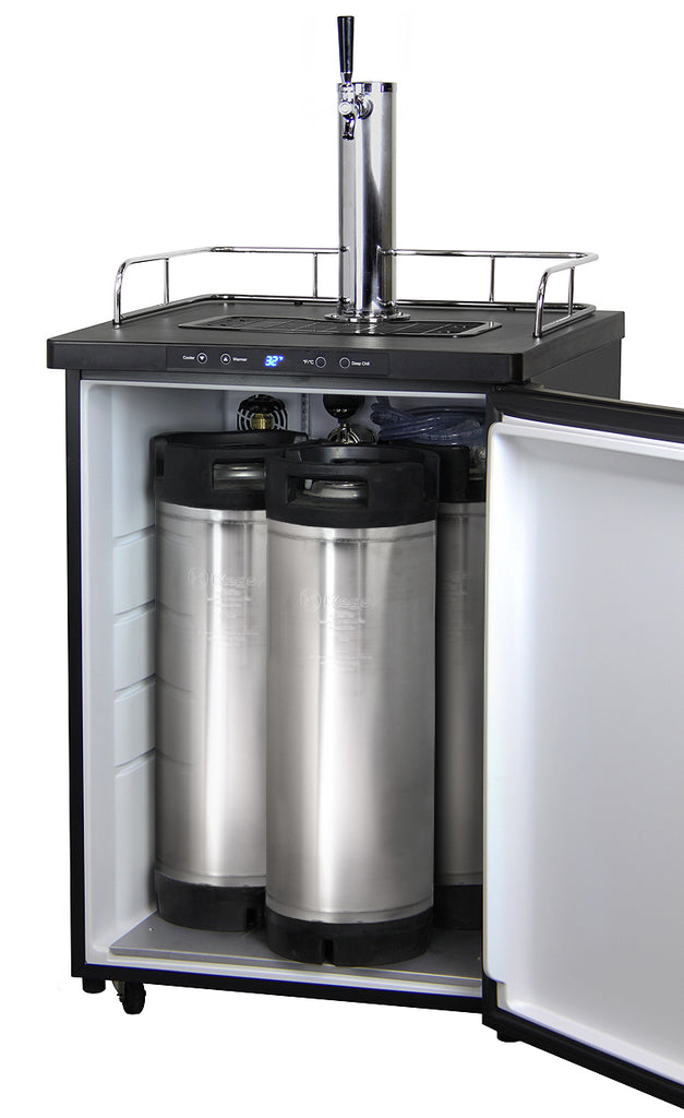 "Kegco 24"" Wide Homebrew Single Tap Black Stainless Steel Digital Kegerator - HBK309X-1NK - Wine Cooler City"