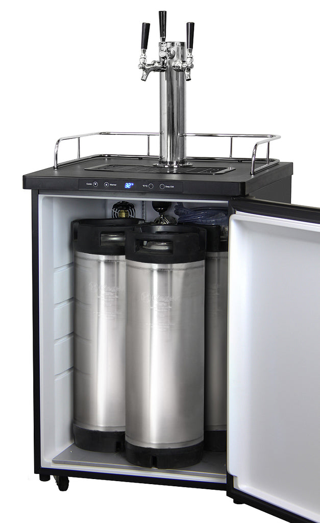 "Kegco 24"" Wide Homebrew Triple Tap Black Digital Kegerator - HBK309B-3NK - Wine Cooler City"
