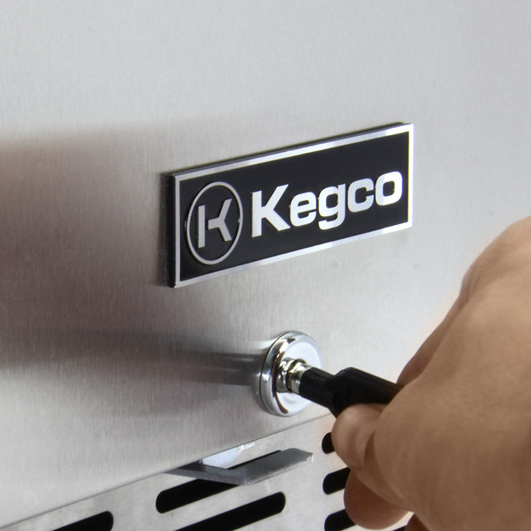 "Kegco - 24"" Wide Cold Brew Coffee Dual Tap Black Commercial Built-In Right Hinge Kegerator - ICHK38BSU-2 - Wine Cooler City"
