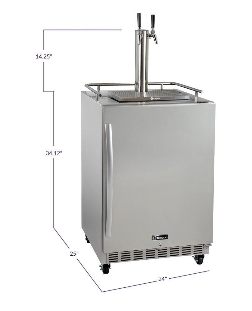 "Kegco 24"" Wide Dual Tap All Stainless Steel Commercial Outdoor Right Hinge Kegerator with Kit - HK38SSC-2 - Wine Cooler City"