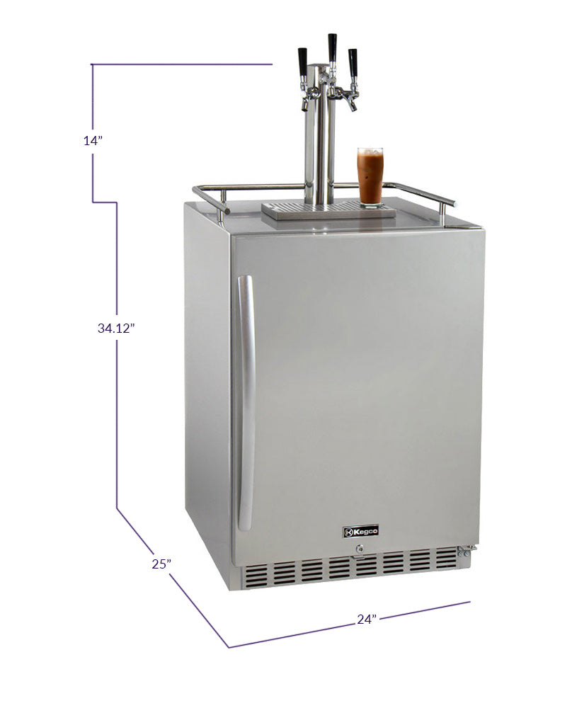 "Kegco 24"" Wide Cold Brew Coffee Triple Tap All Stainless Steel Outdoor Built-In Right Hinge Kegerator - ICHK38SSU-3 - Wine Cooler City"