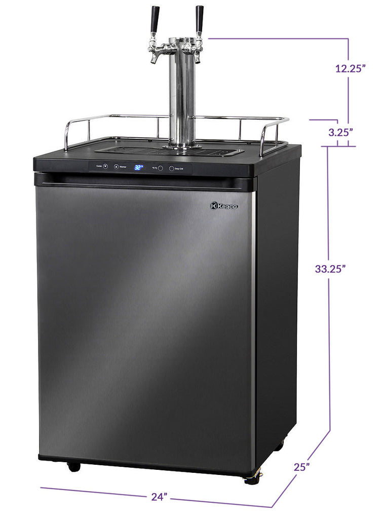 "Kegco 24"" Wide Cold Brew Coffee Dual Tap Black Stainless Steel Kegerator - ICK30X-2NK - Wine Cooler City"