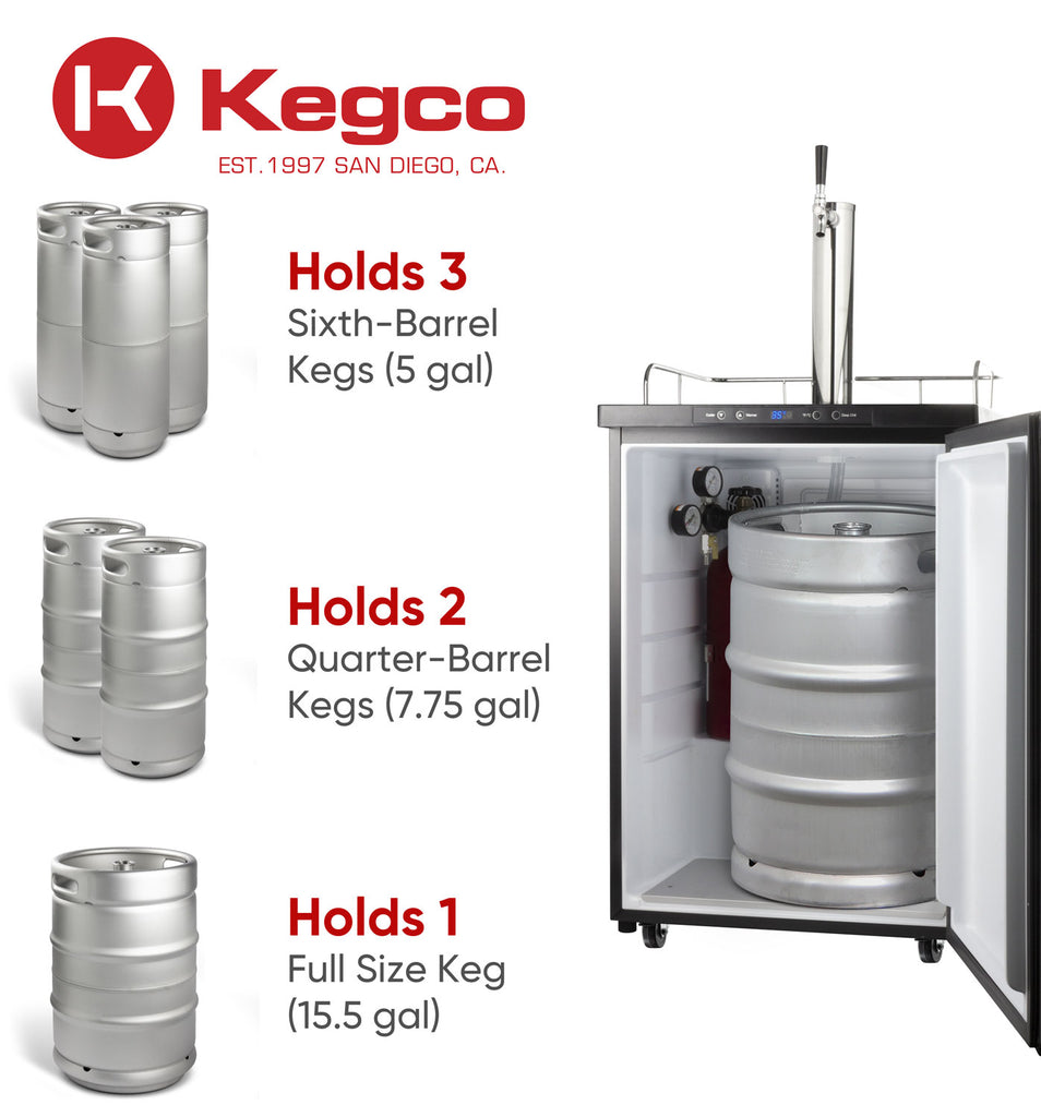 "Kegco 24"" Wide Kombucha Single Tap Stainless Steel Kegerator - KOM30S-1NK - Wine Cooler City"