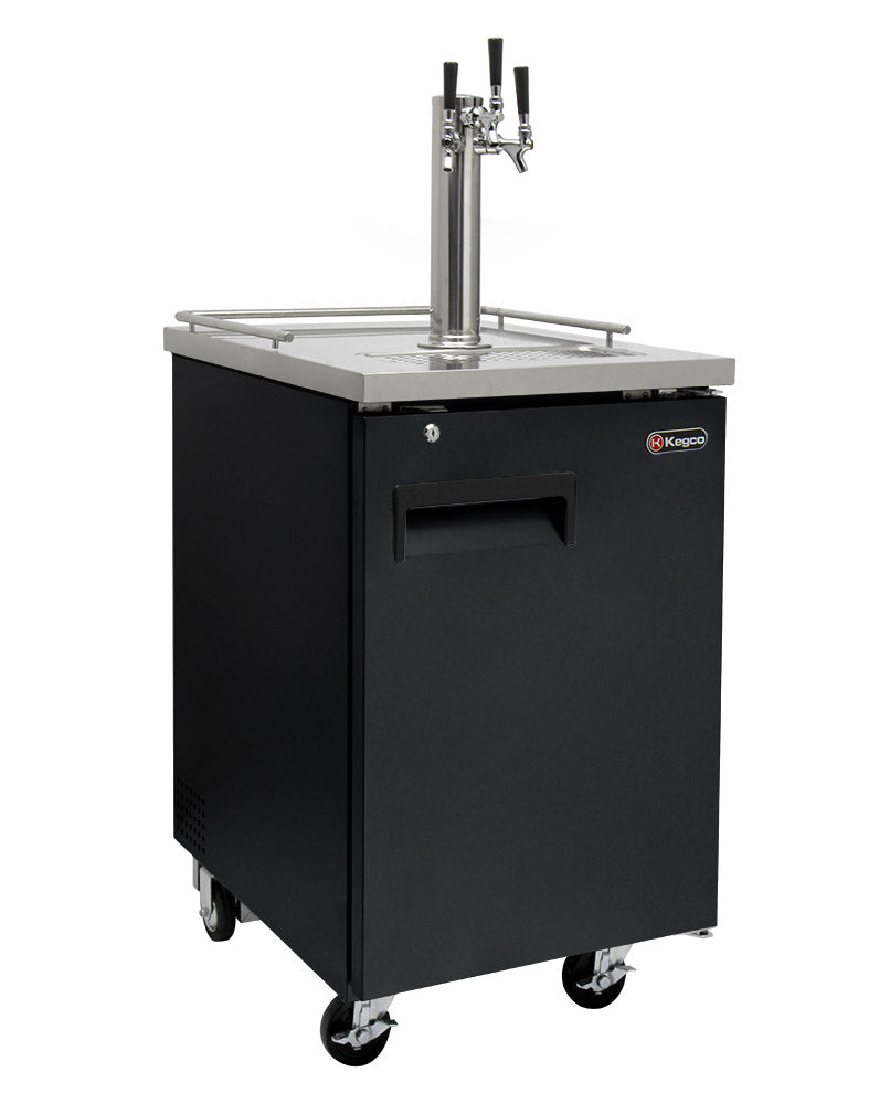 "Kegco 24"" Wide Homebrew Triple Tap Black Commercial Kegerator with Kegs - HBK1XB-3K"