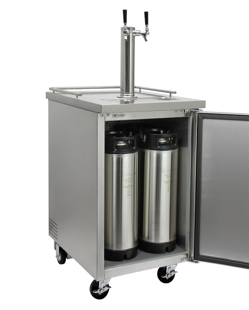 "Kegco 24"" Wide Homebrew Dual Tap Stainless Steel Commercial Kegerator - HBK1XS-2"