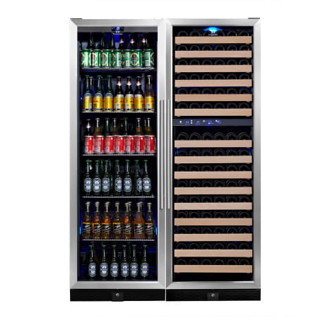 KingsBottle 48 inch Wide 131 Bottle Capacity Wine Cooler with Beverage Cooler and 2 Wine Zones - KBU-170Combo-BW3 - Wine Cooler City