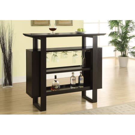 Monarch Specialties I 2548 47 Inch Wide Bar Table with Bottle and Glass Storage - Wine Cooler City