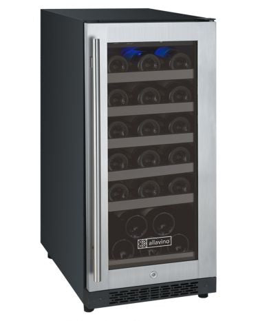 "Allavino FlexCount Series 15"" Single Zone Wine Cooler Refrigerator - 30 Bottle Capacity - Hinge on Right VSWR30-1SSRN - Wine Cooler City"
