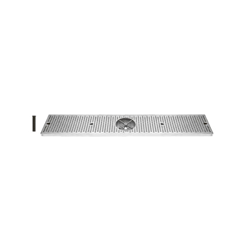 UBC 36 Inch Stainless Surface Mount Drip Tray with Rinser - DTU36SSR - Wine Cooler City