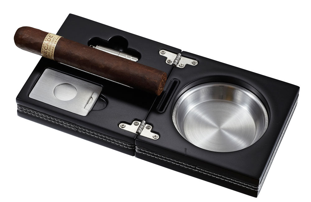 Visol Carnis Black Wooden Folding Cigar Ashtray - Wine Cooler City