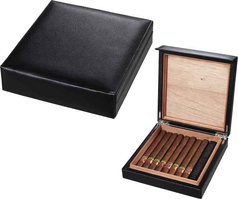 Visol Black Leather Cigar Humidor Holds 16 Cigars - Wine Cooler City