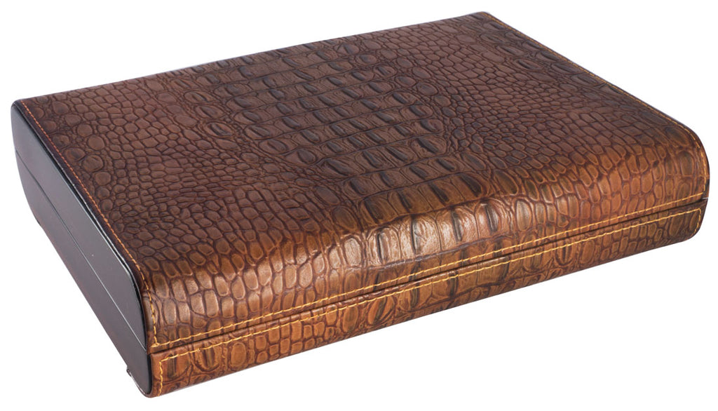 Visol Sobek Brown Leather Desktop Humidor - Holds 10 Cigars - Wine Cooler City