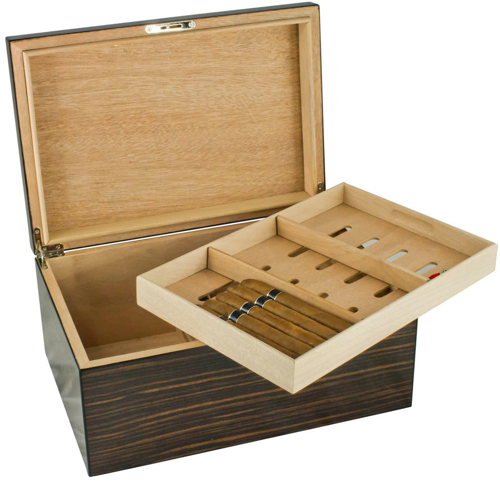 Visol Exotic Ebony Wood Cigar Humidor - Holds up to 100 Cigars - Wine Cooler City