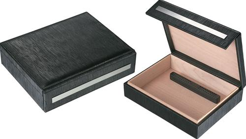 Visol Aspen Black Leather Travel Cigar Humidor - Holds 16 Cigars