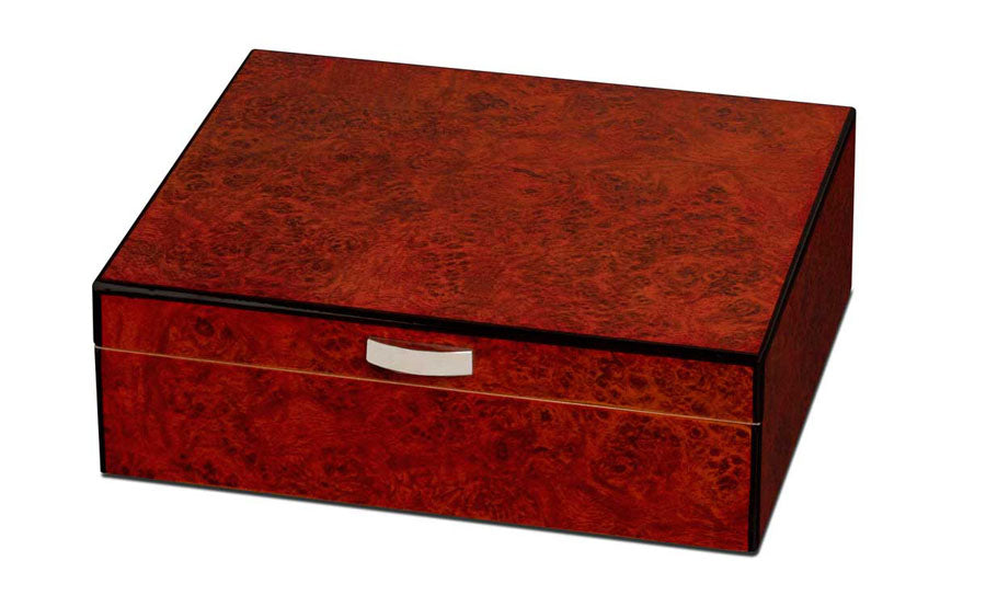 Visol Cedrik Polished Burl Finish Humidor - Holds 25 Cigars - Wine Cooler City