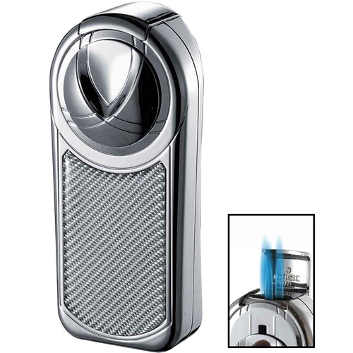 Visol Dobrev III Triple Jet Flame Chrome White Carbon Fiber Cigar Lighter - Wine Cooler City