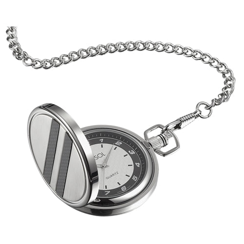 Visol Turbo White Dial Carbon Fiber Pocket Watch - Wine Cooler City