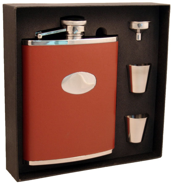 Visol Bobcat Brown Leather 18oz Deluxe Flask Gift Set - Wine Cooler City